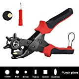 Leather Hole Punch Tool for Belts, Watch Bands, Straps, Dog Collars, Saddles, Shoes, Fabric, DIY Home or Craft Projects/Super Heavy Duty Rotary Puncher, Multi Hole Sizes Maker Tool