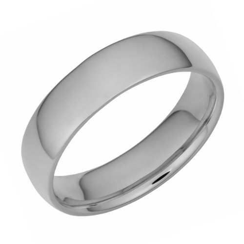 14k White Gold 6mm Comfort Fit Hollow Wedding Band (Size 11)