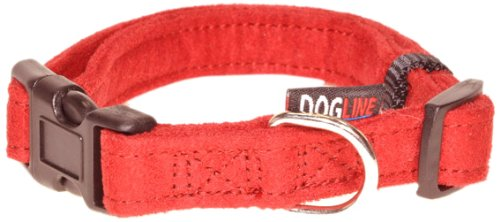 h Comfort Microfiber Soft Padded Pet Puppy Dog Collar with Nylon Reinforcement, Medium, 3/4-Inch Wide, Red (Wide Nylon Puppy Collar)