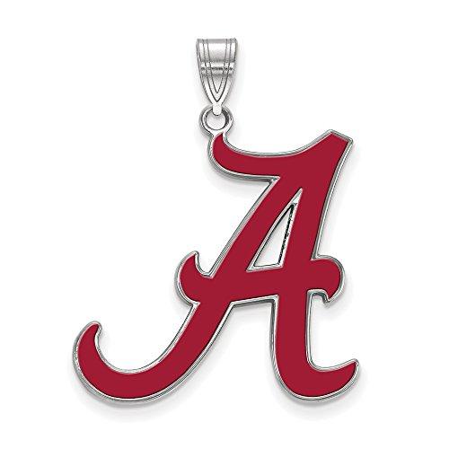 Alabama Extra Large (1 Inch) Enamel Pendant (Sterling Silver)