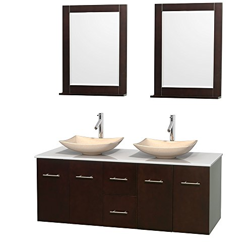 Wyndham Collection Centra 60 inch Double Bathroom Vanity in Espresso, White Man-Made Stone Countertop, Arista Ivory Marble Sinks, and 24 inch Mirrors price