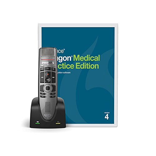 (Nuance Dragon Medical Practice Edition 4 - 1 License Retail Box with No Maintenance and SpeechMike Premium Air Wireless Precision Microphone - Push Button Operation)