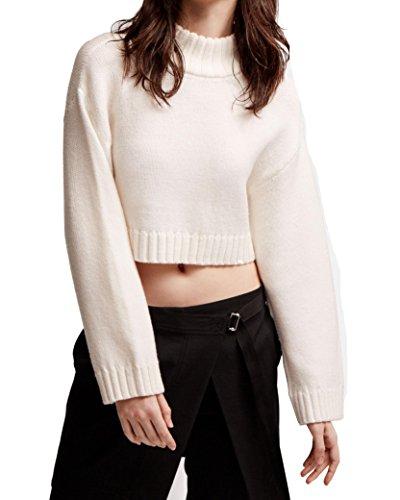 Dkny Wool Cardigan (DKNY Women's Small Mock Neck Cropped Wool Sweater White S)