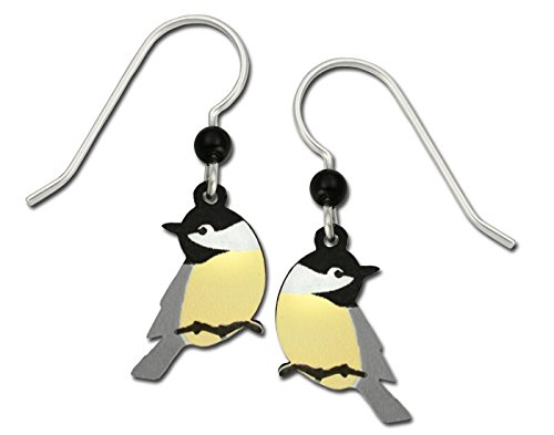(Sienna Sky Black Capped Chickadee Bird on Twig Hand Painted Earrings with Gift Box Made in USA)