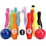 HUQUAN Wooden Bowling Set, Kids Interactive Toys for Children with Numbers Family Game Party Supplies Intelligent Skittles Toy Educational Toy