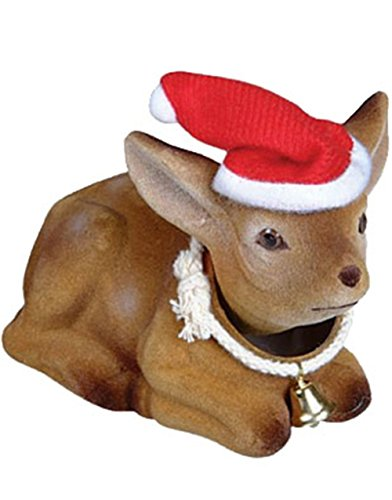 [Christmas Reindeer Ornament Bobble-Head Doll With Bell] (Bobble Head Halloween Costume)