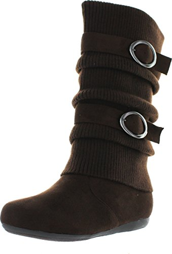 Womens Dual Buckle Warm Sweater Boots in Black, Brown, Red, Tan, Gray Brown