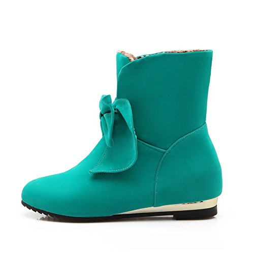 AgooLar Women's Pull-on Round Closed Toe Low-Heels Imitated Suede Low-top Boots Blue xLwiR