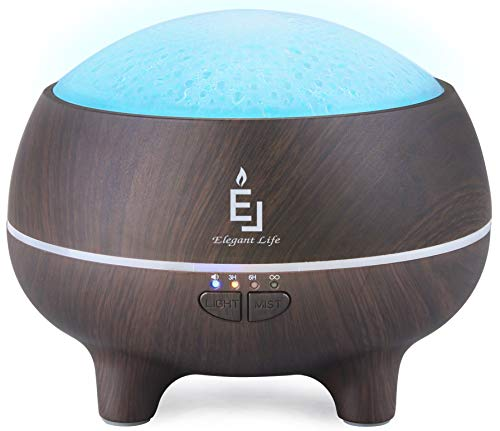 Elegant Life Essential Oil Diffuser Aromatherapy Diffuser Ultrasonic Diffuser Bluetooth Speaker Black Wood Grain, 300ml Aroma Defusers, 7 Color LED Night Light, Water Low Auto Shut-Off