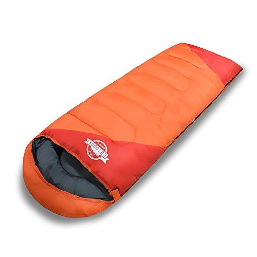 WIBERTA(ウィベルタ) 寝袋 シュラフ スリーピングバッグ 封筒型 コンパクト 軽量 丸洗い 最低使用温度-15度 収納袋 オレンジの商品画像