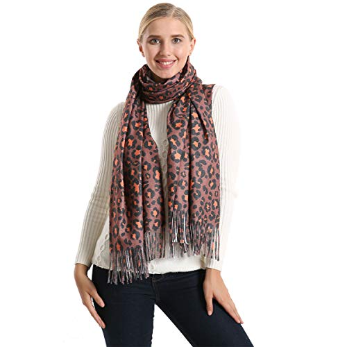 Women's Winter Premium Fashion Leopard Print Infinity Scarf Shawl Wrap With Tassels