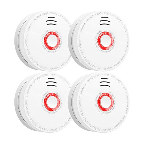 Smoke Detector and Fire Alarm 4 Pack Photoelectric Sensor Smoke Alarms Easy to Install Fire Alarm With UL Listed, Light Sound Warning, Test Button,9V Battery Included Fire Safety for Home Hotel School