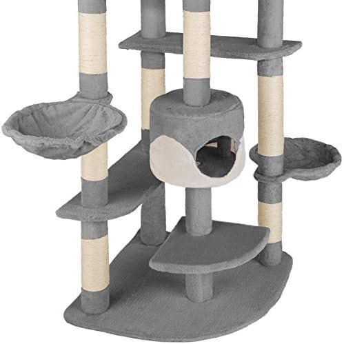 TecTake Arbre à chat griffoir grattoir geant | 2 grottes | XXL 204cm - diverses couleurs au choix - (gris-blanc | no. 402109)