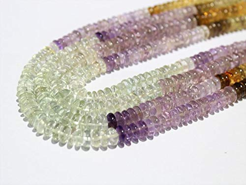India Winstone Gems-Jewellery Natural Multi Gemstone Amethyst Beads,Citrine Beads Crystal,Multi German Cut Plain Rondelles Disc Beads,9 to 11 mm Beads 16