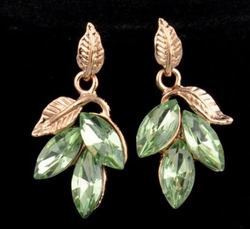 paweena Fashion Cute Sweet Lovely Leaf Polygon Crystal Charm Malachite Green Earrings