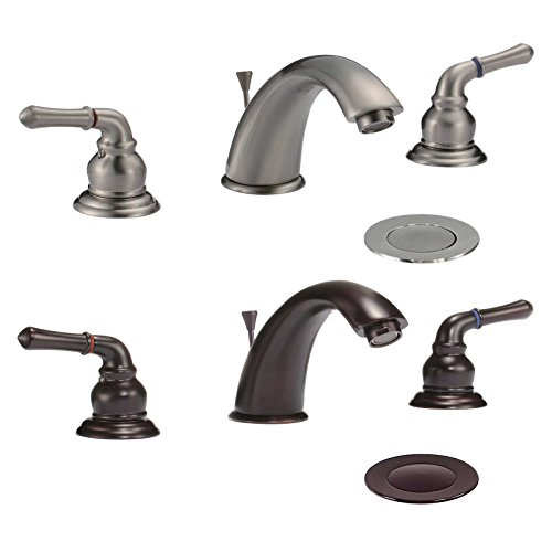 FREUER Fresco Collection: Classic Widespread Bathroom Sink Faucet, Oil Rubbed Bronze (Rub Faucet)