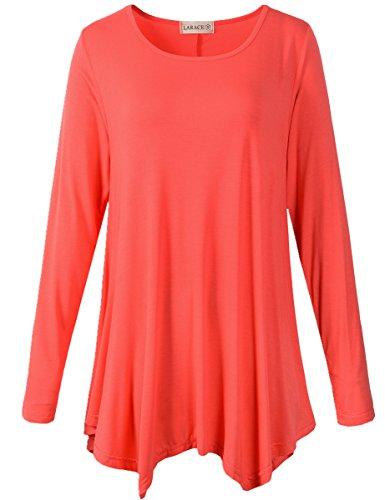 LARACE Womens Long Sleeve Flattering Comfy Tunic Loose Fit Flowy Top (1X, Watermelon ()