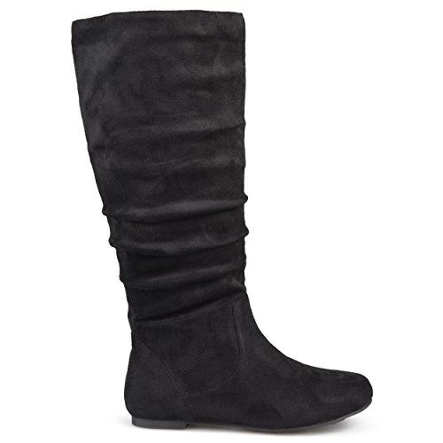 Brinley Co. Womens Regular Size Wide-Calf Knee-High Slouch Microsuede Boot Black, 11 Wide Calf US