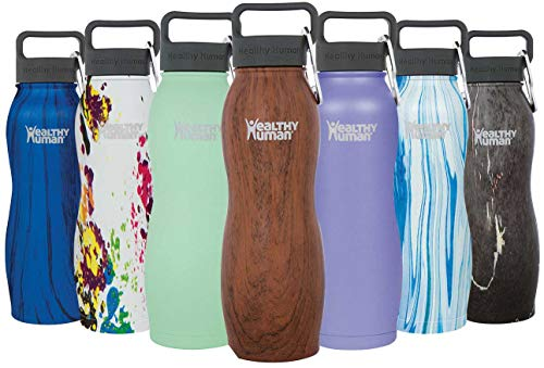 Healthy Human Insulated Stainless Steel Water Bottle Curve - Cold 24 Hours/Hot 12 Hours - Double Walled Vacuum Flask with Hydro Guide & Carabiner - 21 oz Harvest Maple