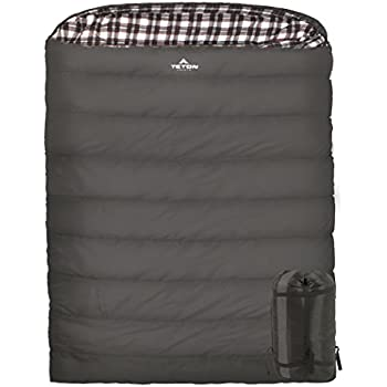 TETON Sports Fahrenheit Mammoth 0F Queen Size Sleeping Bag Perfect for Base Camp while Camping, Backpacking, and Hiking; Grey
