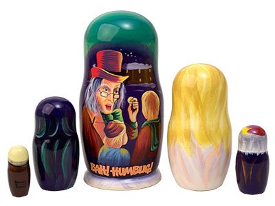 Made in Russia Christmas Carol Nesting Doll 5pc./5'' aka Scrooge Collectible Babushka Russian Matryoshka Doll top quality 100% Guaranteed! by Golden Cockerel (Image #3)