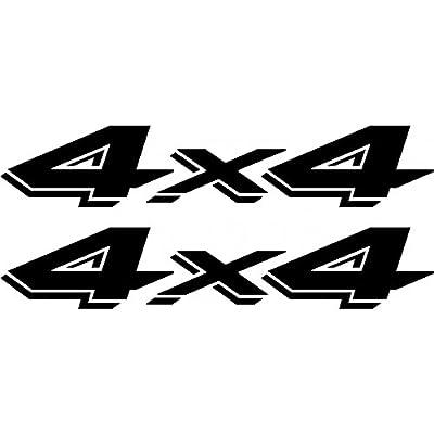 4 X 4 Vinyl Decals Stickers ( Two Pack!!! )  Jeeps Trucks   Black   2 - 8 X 1.5 Inch Decals: Automotive