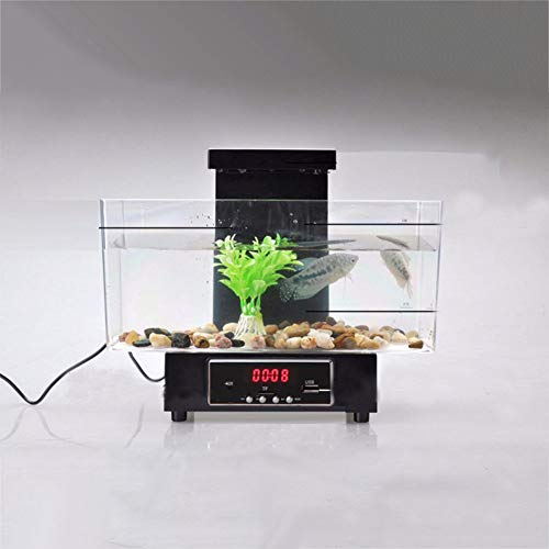 Ocamo Halloween Mini USB Fish Tank Aquarium LED Light Sound Recycled Water Small Electronic Ecological Aquarium Fishbowl Calendar Clock Black ()