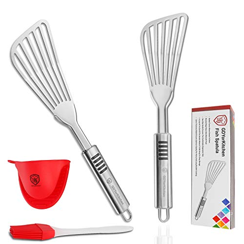 Fish Spatula - Stainless Steel Slotted Turner with Durable 1.2mm Thickness Blade for Fish/Egg/Meat/Dumpling Turning, Flipping, Frying and Grilling, Free Silicone Brush and Bonus Oven Mitt - Set of 2