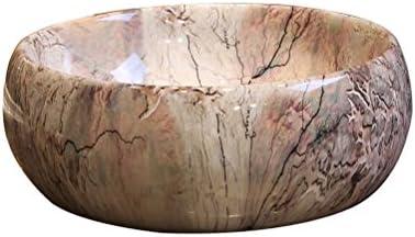 Minmin 浴室シンク大理石アートカウンター盆地ラウンドセラミック洗面台浴室レトロ洗面台付き蛇口セット、40×15.5センチ 芸術流域