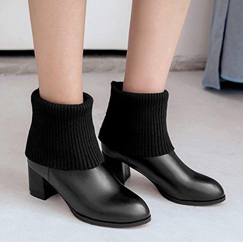 Aisun Womens Casual Tricoté Extensible Habillé Bout Rond Bottes Courtes Pull Mi-talon Talon Mi-mollet Bottes Chaussures Noir