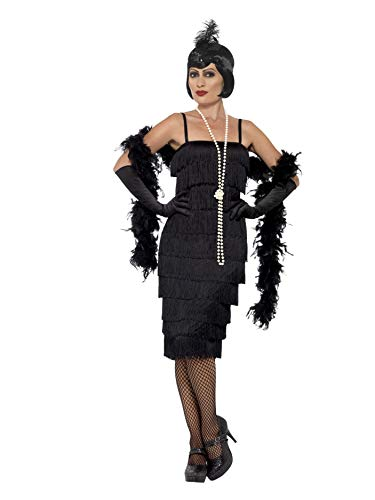 Smiffys Women's Flapper Costume, Long Dress, Headband and Gloves, 20's Razzle Dazzle, Serious Fun, Plus Size 18-20, 45502