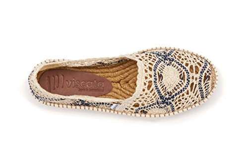 Original Authentic Garraf Spanish White Crocher amp; Crochet Black VISCATA Espadrilles Flats Made Women's U6YwqIId