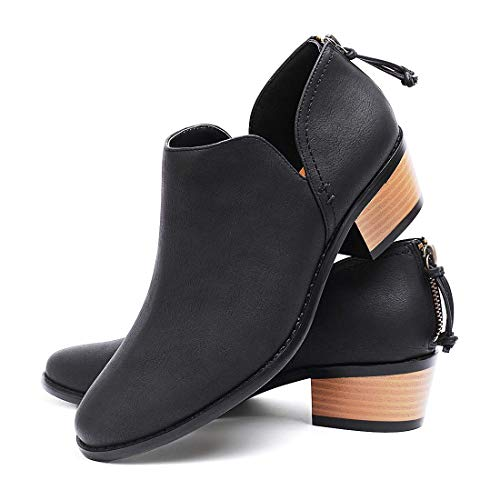Susanny Ankle Boots for Women Zipper Work Booties Chunky Low Heels Slip on Shoes Black 8.5 B (M) US ()