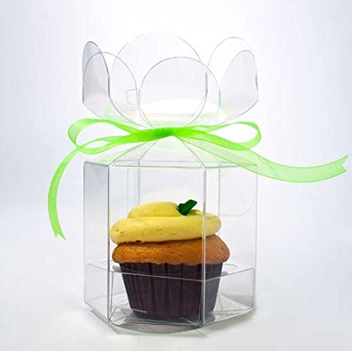 ClearBags 4x4x4 Clear Cupcake Gift Boxes - Clear Flower Top Party Boxes for Cupcakes - Weddings Parties - Holds 1 Cupcake - CBS212 - 100 Boxes by ClearBags