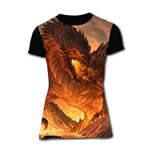 Women's T-Shirt Red Dragon Graphic 3D Printed Short Sleeve T Shirt Tops Fashion Tees