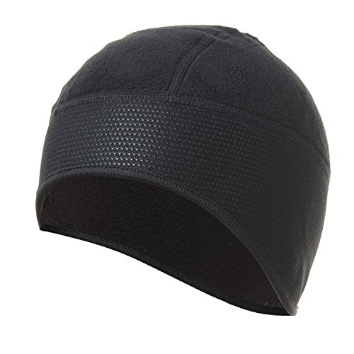 Helmet Liner Black Fleece - 4ucycling Thermal Fleeced 10% Spandex Skull Cap and Helmet Liner Black