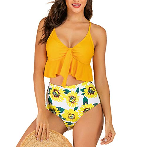 (Emimarol Women Retro Flounce High Waisted Bikini Halter Neck Two Piece Swimsuit Yellow)