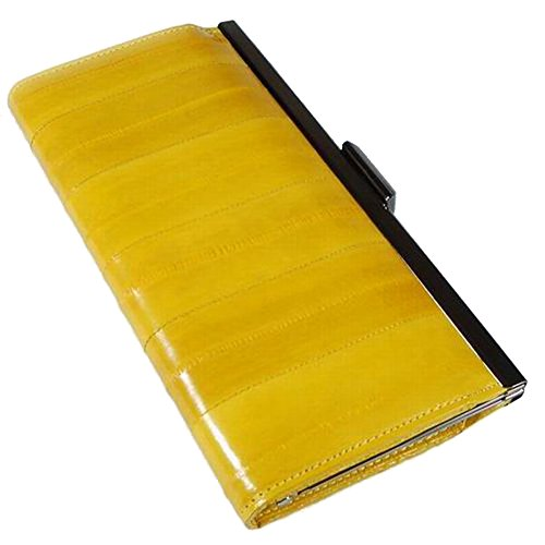 Women's Metal Frame Wallet Long Leather Purse Genuine Eel Skin Leather Yellow