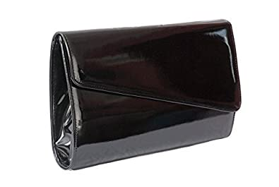Black High Gloss Patent Clutch Handbag Large Occasion Bag: Amazon ...