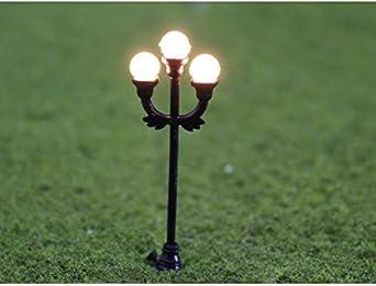Farolas Modelo de jardín negro 1: 48 10pcs Modelo lámpara Escena Jardín Farola Lámpara o Calibre 1: 48 Escala Decor Disposición: Amazon.es: Iluminación