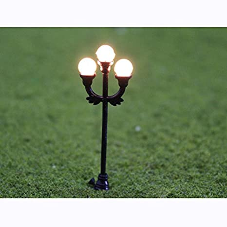 Bon 10pcs Model 3 Head Scene Garden Lamppost Lamp O Gauge 1:48 Scale Decor