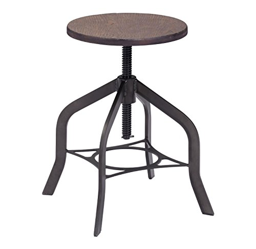 Zuo Modern 98187 Socrates Stool in Rustic Wood, Matte black finish and rustic bamboo adjustable seat, 150 lbs weight capacity, Dimensions 13.8