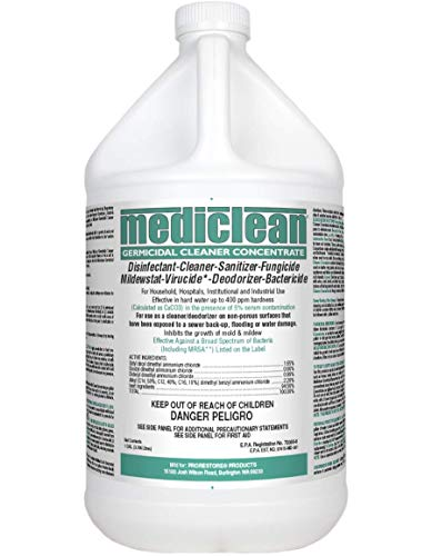 Mediclean Germicidal Cleaner Concentrate, Disinfectant, Sanitizer, Deodorizer, Fungicide, Mildewstat, Virucide, Lemon Scent, Hospitals, Industrial, Household, Inhibits Mold and Mildew (1 - Cleaner Germicidal Industrial