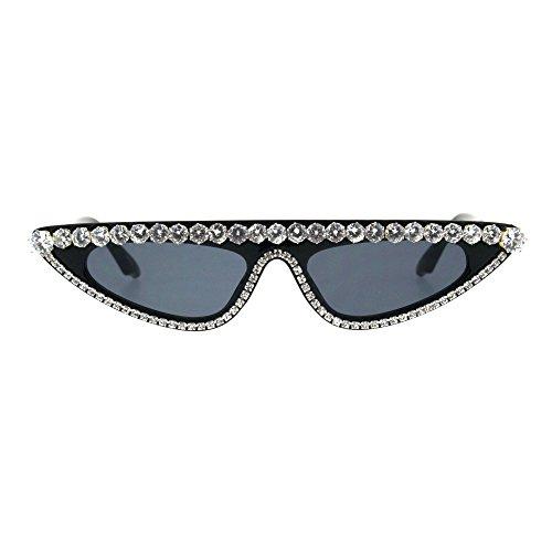 Womens Large Rhinestone Bling Flat Top Narrow Cat Eye Goth Sunglasses ()