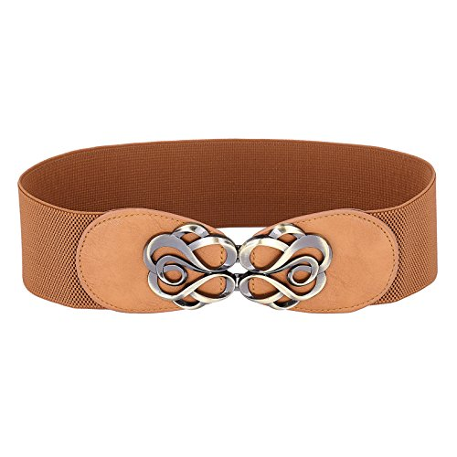 Belle Accessories Metal Floral Interlock Buckle Stretch Waist Belt Size L CL0413-5, Brown (Cl0413-5) (Silver Floral Buckle)