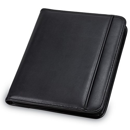 Samsill Professional Padfolio - Resume Portfolio / Business Portfolio with Secure Zippered Closure, 10.1 Inch Tablet Sleeve, 8.5 x11 Writing Pad, Black
