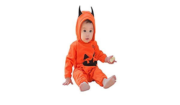 3b1e097c2 Amazon.com   Infant Baby Boys Girls Halloween Pumpkin Hooded Romper ...
