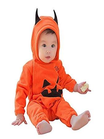 086687e8f Amazon.com   Infant Baby Boys Girls Halloween Pumpkin Hooded Romper ...