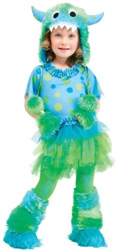 Fun World Costumes Baby Girl's Monster Miss Toddler Costume, Blue, Small (24 mos-2T) -