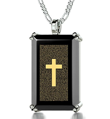 925 Sterling Silver Men's Cross Necklace with Philippians Inscribed in 24k Gold onto a Black Onyx Christian Pendant, 20'' by Nano Jewelry